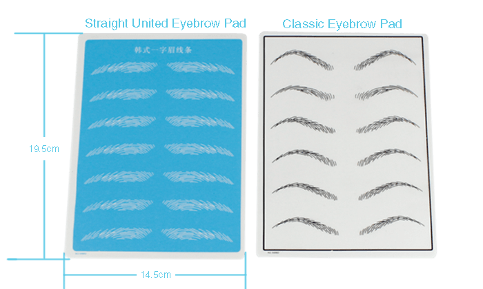 size of eyebrow practice pad