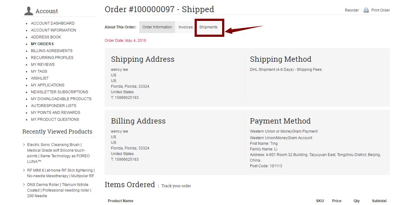 shipment ibeautymachine.com